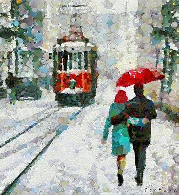Lovers In The Snow Art Print