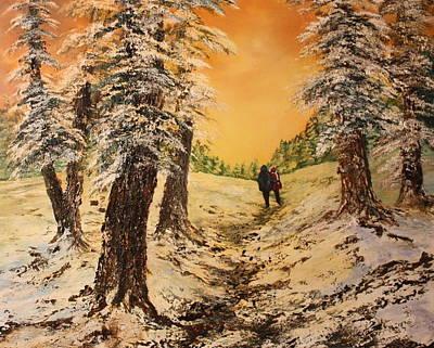 Fallow Deer Painting - Lovers In The Snow by Jean Walker