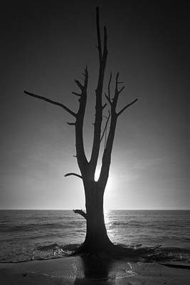 Photograph - Lovers Key Sunset Black And White Two by Bradley R Youngberg