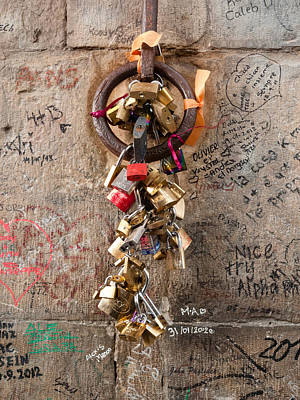 Photograph - Lover's Locks On The Ponte Vecchio In Florence by John Pagliuca