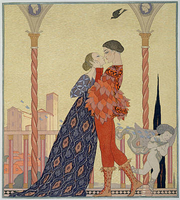 Lovers On A Balcony  Art Print by Georges Barbier