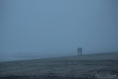 Photograph - Lovers On A Foggy Beach by Robert Banach