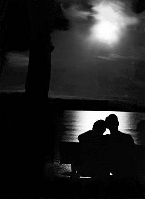 Lovers Sitting Moonlight Art Print by Underwood Archives