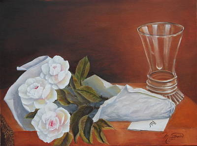 Table Cloth Painting - Loves Bouquet by Lou Magoncia
