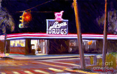 Drug Stores Painting - Love's Drugs by Candace Lovely