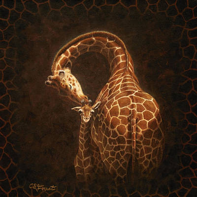 Mother And Baby Giraffe Painting - Love's Golden Touch by Crista Forest