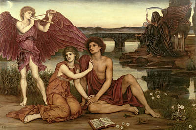 Grim Painting - Love's Passing by Evelyn De Morgan