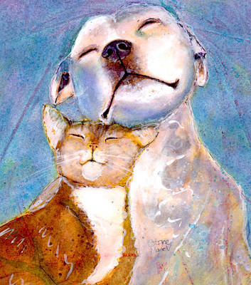Cats And Dogs Painting - Lovey Dovey by Marie Stone Van Vuuren