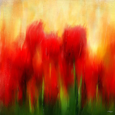 Red Tulip Painting - Loving Memories by Lourry Legarde