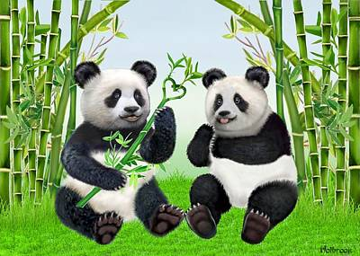 Digital Art - Loving Pandas by Glenn Holbrook