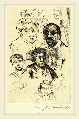 Self-portrait Drawing - Lovis Corinth, Assorted Heads And Self-portrait by Litz Collection