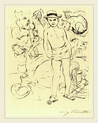 Straw Hat Drawing - Lovis Corinth, Boy Wearing Bathing-trunks And Straw Hat by Litz Collection