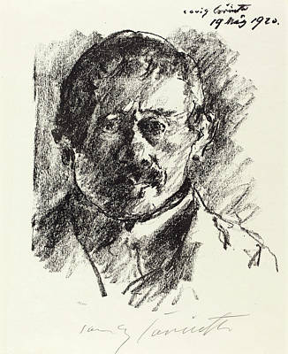Self-portrait Drawing - Lovis Corinth, Self-portrait Selbstbildnis by Quint Lox
