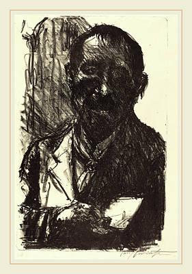 Self-portrait Drawing - Lovis Corinth, Self-portrait Sketching, German by Litz Collection