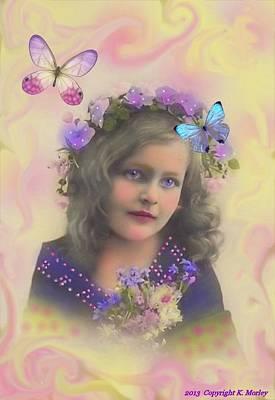 Flower Pink Fairy Child Digital Art - Lovy by Karen Morley