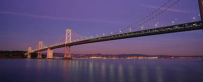 Bay Bridge Photograph - Low Angle View Of A Bridge At Dusk by Panoramic Images