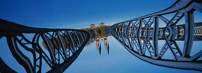 Amorphous Metal Photograph - Low Angle View Of A Bridge, Blue by Panoramic Images