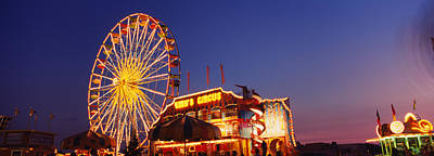 Enjoyment Photograph - Low Angle View Of A Ferries Wheel Lit by Panoramic Images