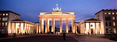 Berlin Photograph - Low Angle View Of A Gate Lit by Panoramic Images
