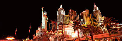 Statue Of Liberty Replica Photograph - Low Angle View Of A Hotel, New York New by Panoramic Images