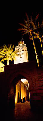 Marrakesh Photograph - Low Angle View Of A Mosque Lit by Panoramic Images