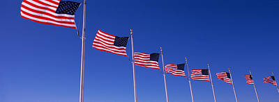 Flutter Photograph - Low Angle View Of American Flags by Panoramic Images