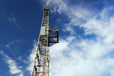Oil Rig Photograph - Low Angle View Of An Oil Drilling by Panoramic Images