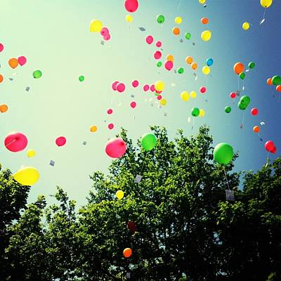 Low Angle View Of Balloons Art Print by Christin Borbe / Eyeem