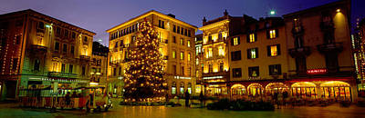Night Cafe Scene Photograph - Low Angle View Of Buildings, Piazza by Panoramic Images