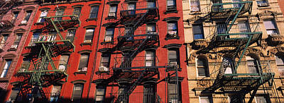 Angled Windows Photograph - Low Angle View Of Fire Escapes by Panoramic Images
