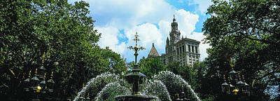 Low Angle View Of Fountain, City Hall Art Print by Panoramic Images