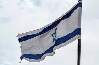 Star Of David Photograph - Low Angle View Of Israeli Flag by Panoramic Images