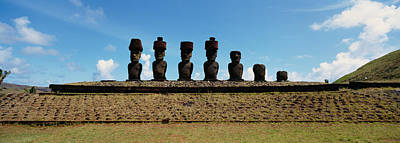 Low Angle View Of Moai Statues Art Print