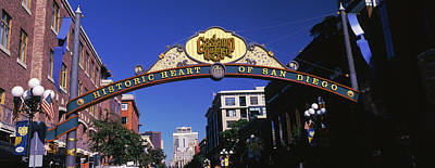 Gaslamp Photograph - Low Angle View Of Sign, Gaslamp by Panoramic Images