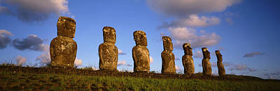 Low Angle View Of Statues In A Row Art Print