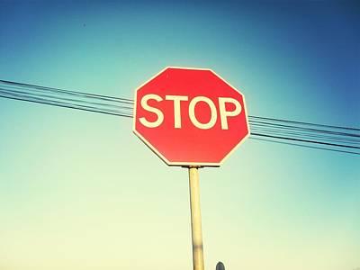 Low Angle View Of Stop Sign Art Print by Pedro Venâncio / Eyeem