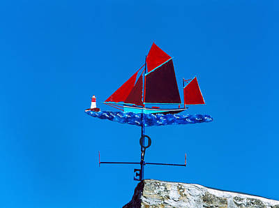 Weather Vane Photograph - Low Angle View Of Weather Vane, Morgat by Panoramic Images