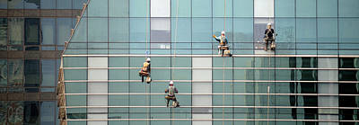 Low Angle View Of Window Washer Art Print by Panoramic Images