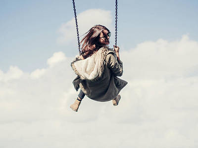 Low Angle View Of Woman On Swing Art Print by Denise Kwong / Eyeem