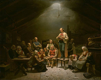 Musician Framed Painting - Low Church Devotion  by Adolph Tidemand