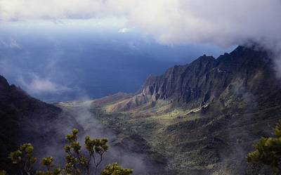 Low Clouds Over A Na Pali Coast Valley Art Print by Stuart Litoff