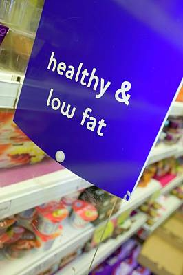 Low Fat Food In A Supermarket Art Print by Ashley Cooper