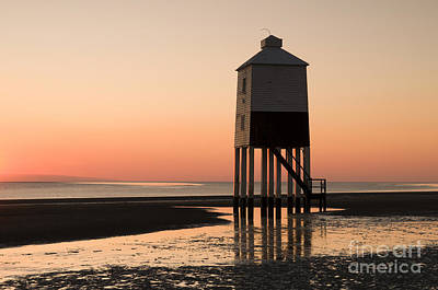 Light Paint Photograph - Low Lighthouse Sunset by Anne Gilbert
