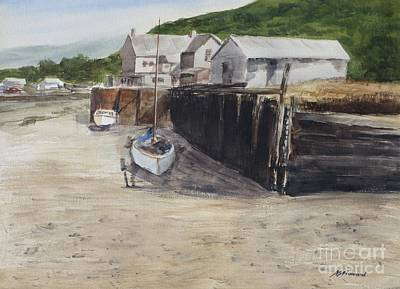 Quayside Painting - Low Tide At High Noon by Martin Howard