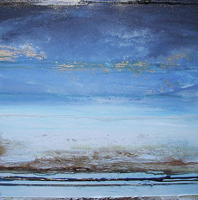 Mixed Media - Low Tide Beach Rhythms And Textures Blue Series1a by Mike   Bell