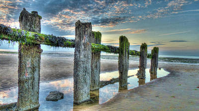 Low Tide Groynes Art Print