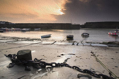 Mousehole Photograph - Low Tide Harbour Sunrise Digital Painting by Matthew Gibson
