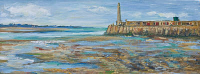 Low Tide In The Harbour. Art Print