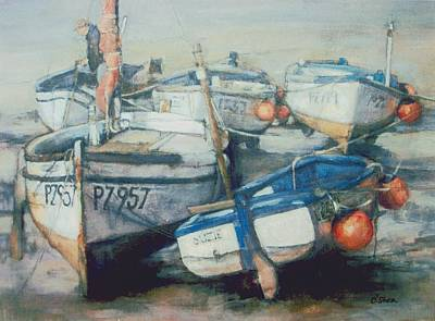 Mooring Painting - Low Tide Newlyn by Ellie O Shea