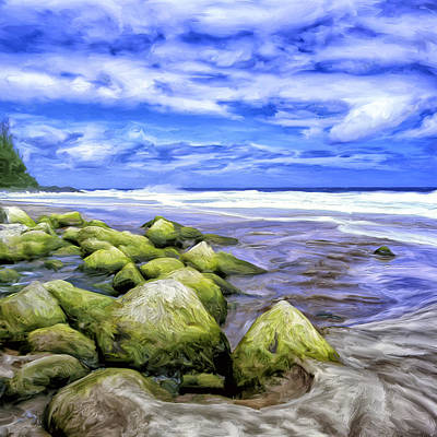 Na Pali Hawaii Painting - Low Tide On The Na Pali Coast by Dominic Piperata